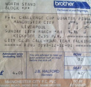 liverpool home fa cup 1987 to 88 ticket