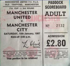 man utd fa cup 1986 to 87 ticket