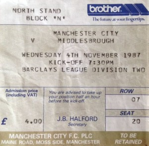 middlesbrough home 1987 to 88 ticket