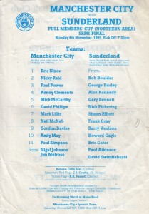 Sunderland home Full Members Cup Northern Area Semi-Final 1985 to 86 prog