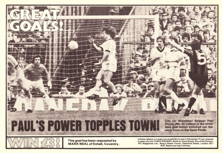 ipswich fa cup 1980 to 81 power goal ROTR