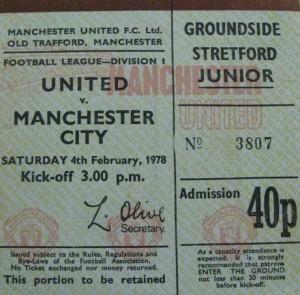 man utd away 1977 to 78 ticket