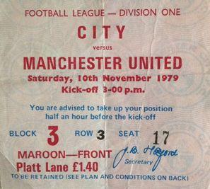 man utd home 1979 to 80 ticket