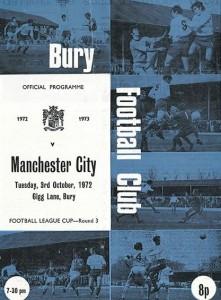 bury league cup 1972 to 73 prog