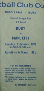 bury league cup 1972 to 73 ticket