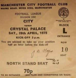 crystal palace home 1972 to 73 ticket