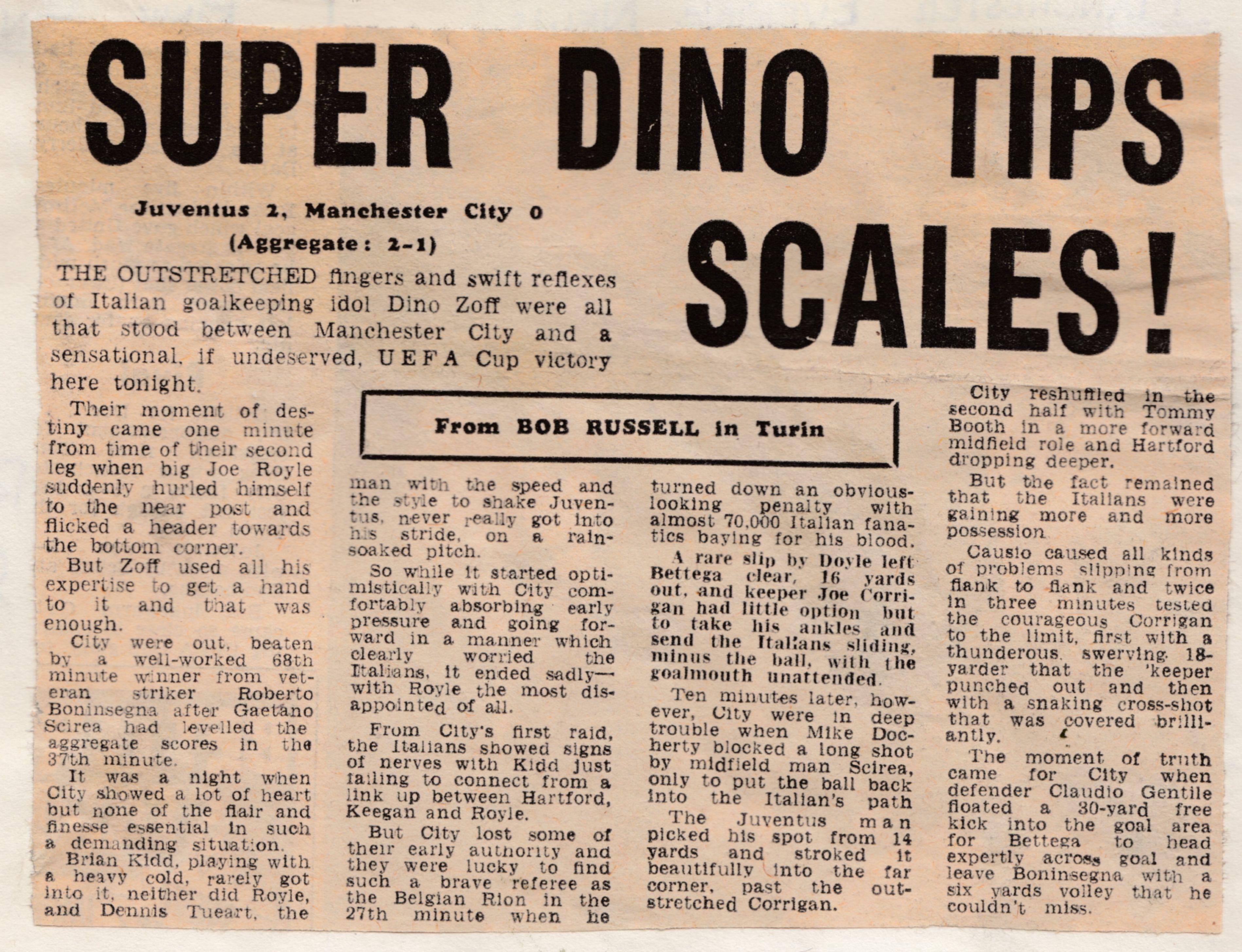 juventus away 1976 to 77 Daily mirror 30 sep 76