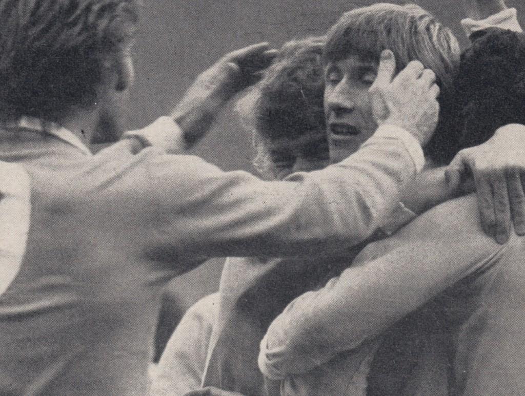 man utd home 1972 to 73 bell celeb after goals