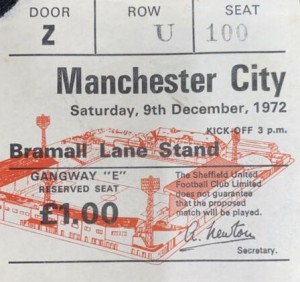 sheff utd away 1972 to 73 ticket