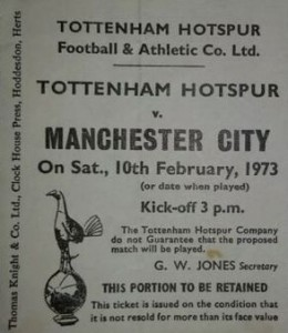 tottenham away 1972 to 73 ticket