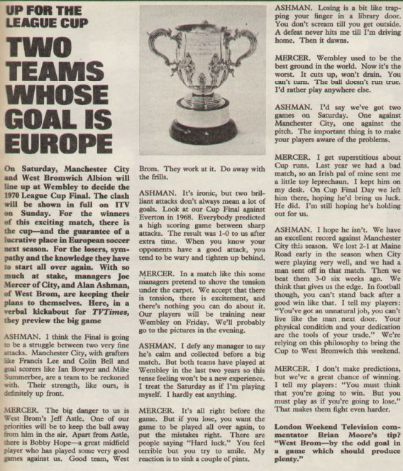 1970 lge cup final tv times article 7 march 70 edition