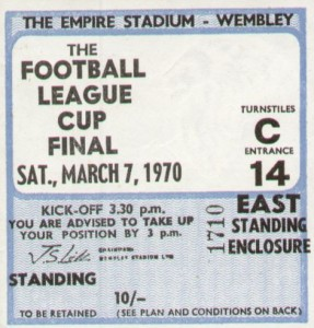 WEST BROM 1969 T0 70 league cup final ticket