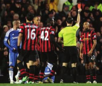 chelsea away 2011 to 12 clichy sent off