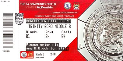 chelsea charity shield 2012 to 13 ticket