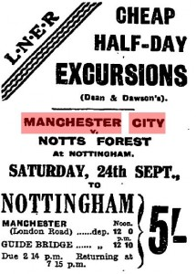 notts forest away 1927 to 28 train advert mcr guardian