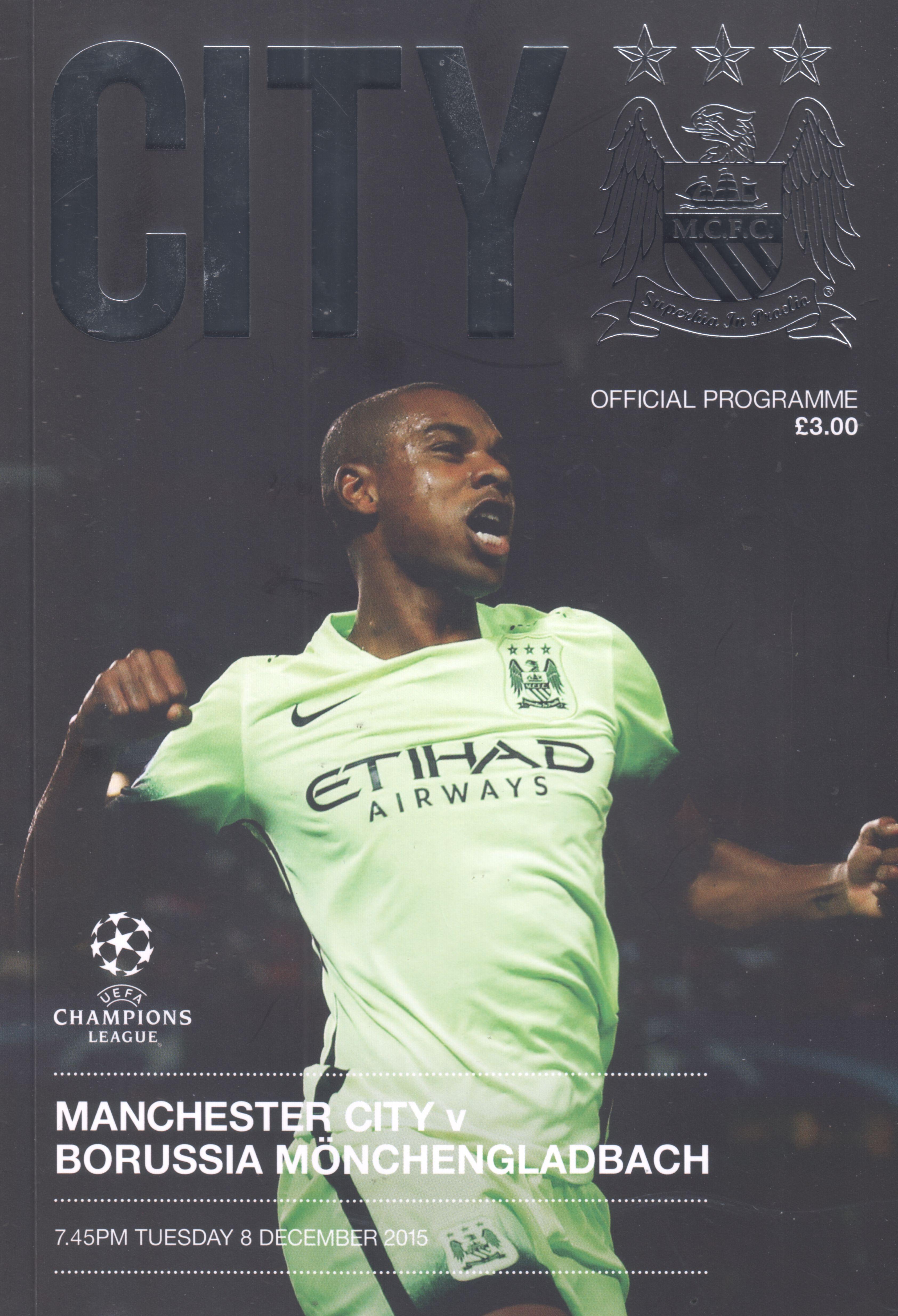 Programm /& Menükarte UEFA CL 2016//17 Mönchengladbach Manchester City