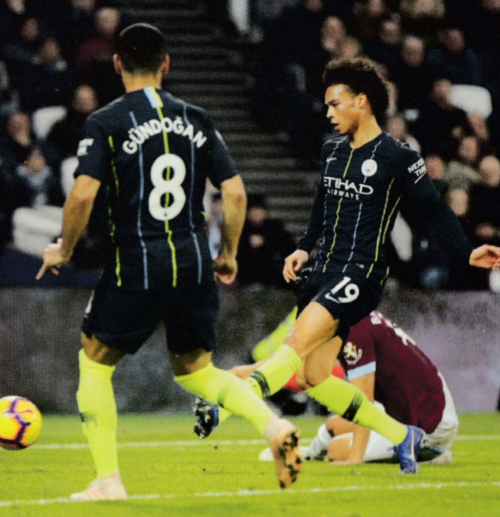 west ham away 2018 to 19 sane 1st goal