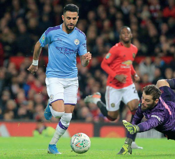 man utd away carabao cup 2019 to 20 mahrez goal