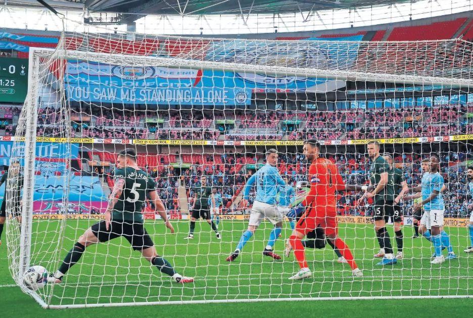 tottenham caraboa cup final 2021 laporte goal