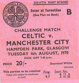 celtic friendly 1970 to 71 ticket