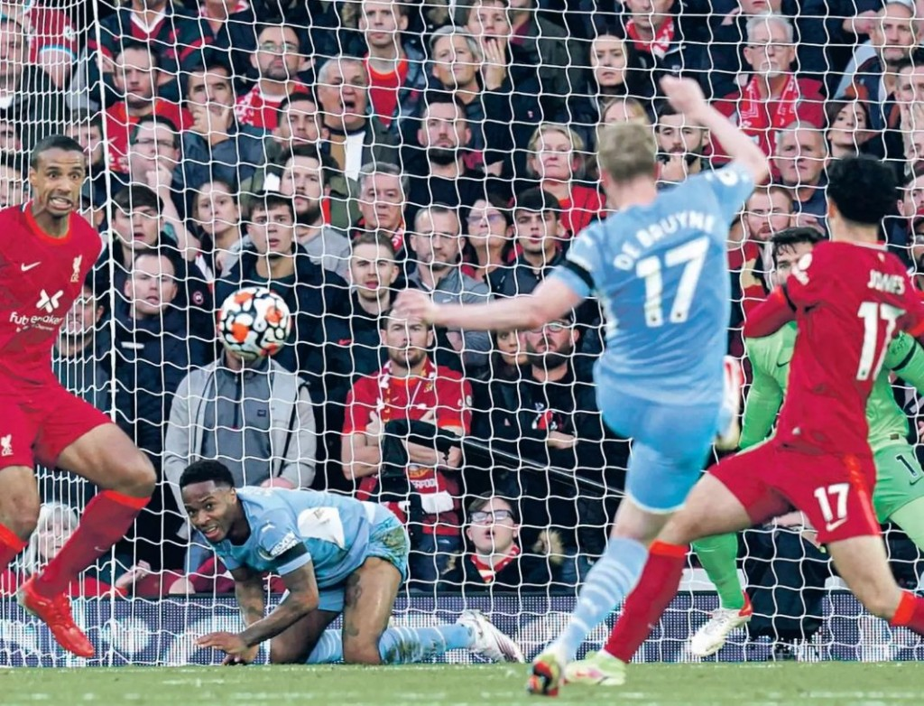 liverpool away 2021 to 22 de bruyne goal