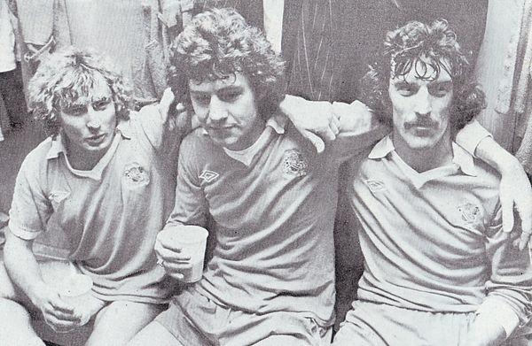 AC Milan home 1978 to 79 goalscorers celebrate