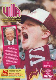 Aston Villa away 1992 to 93 prog