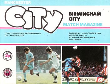 Birmingham home 1980 to 81 prog