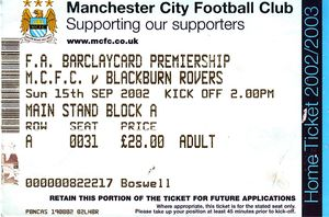 Blackburn home 2002 to 03 TICKET