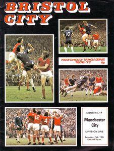 Bristol City away 1976 to 77 prog