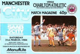Charlton home 1983 to 84 prog