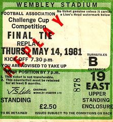 FA Cup Final Replay 1980 to 81 ticket