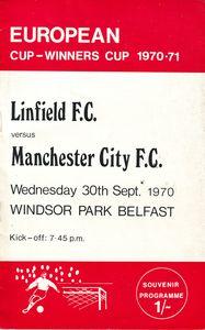 Linfield away ECWC 1970-71 programme
