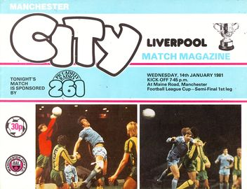 Liverpool home 1980 to 81 home league cup prog