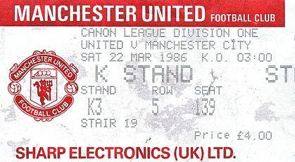 Man U away 1985 to 86 ticket