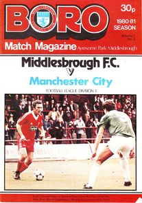Middlesbrough away 1980 to 81 prog