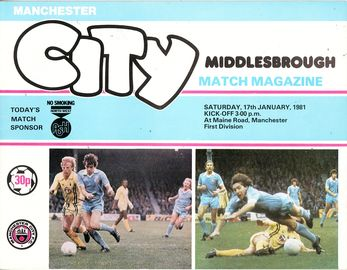 Middlesbrough home 1980 to 81 prog