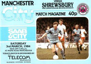Shrewsbury home 1983 to 84 prog