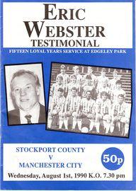 Stockport away testimonial 1990 to 91 prog