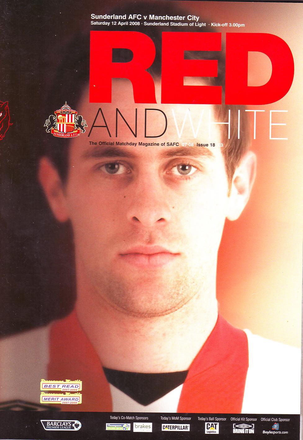 Sunderland away 2007 to 08 prog