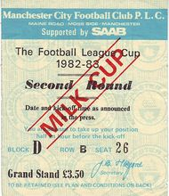 Wigan Home Milk Cup 1982 to 83 ticket