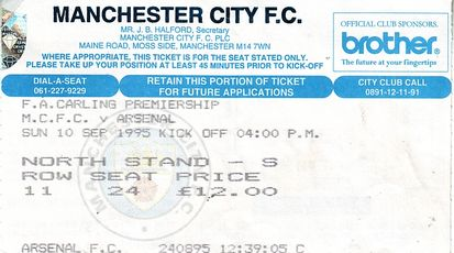 arsenal home 1995 to 96 ticket