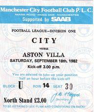 aston villa home 1982 to 83 ticket