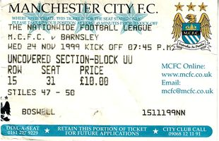 barnsley home 1999 to 00 ticket