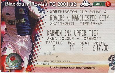 blackburn away worthy cup 2001 to 02 ticket