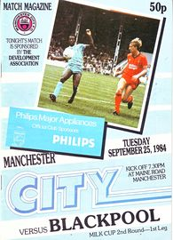 Manchester city v blackpool league cup 2nd round 1st leg for League two table 1984 85