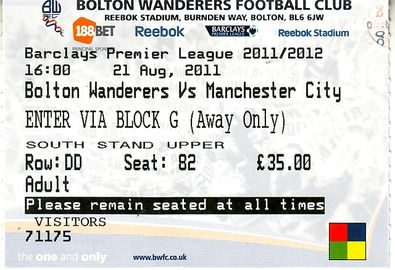 bolton away 2011 to 12 ticket