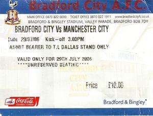 bradford away friendly 2006 to 07 ticket