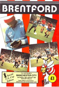 brentford away fa cup 1988 to 89 prog