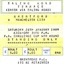 brentford away fa cup 1988 to 89 ticket